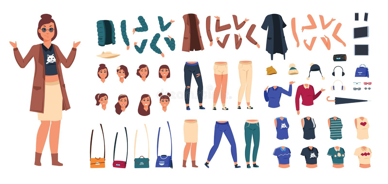 Cartoon character constructor. Woman in casual clothes animation set, young girl body elements and gestures. Vector flat royalty free illustration