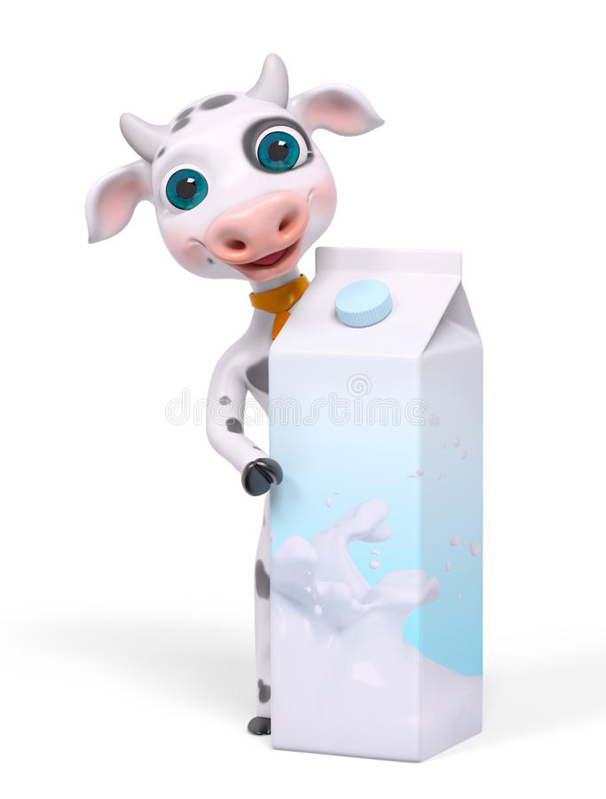 Cartoon character cow behind milk carton isolated 3d rendering royalty free illustration