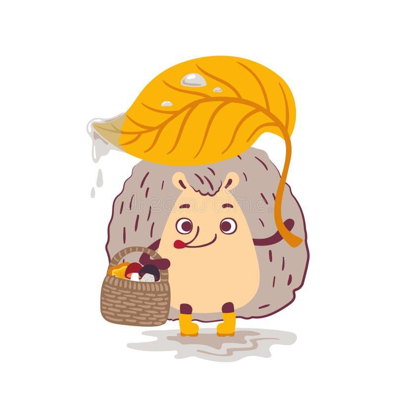 Cartoon character cute hedgehog. Vector illustration. stock illustration
