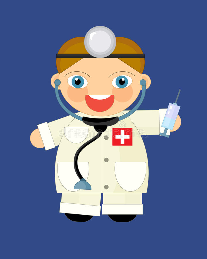 Cartoon character - doctor. Beautiful illustration for the children vector illustration