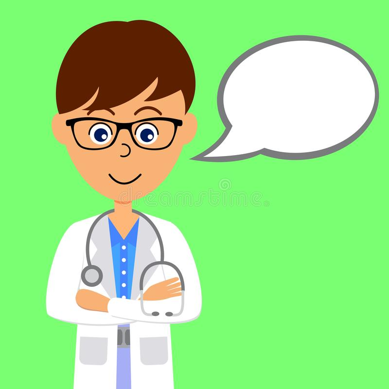 Cartoon character doctor with speech bubble. stock images
