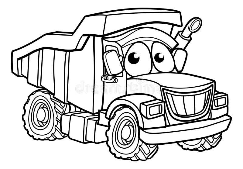 Cartoon Character Dump Truck. Dump tipper truck lorry dumper construction vehicle cartoon character stock illustration