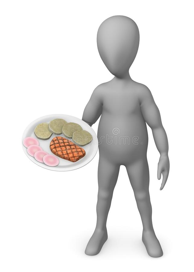 Download Cartoon Character With Dumplings And Pork Stock Illustration - Image: 24479305