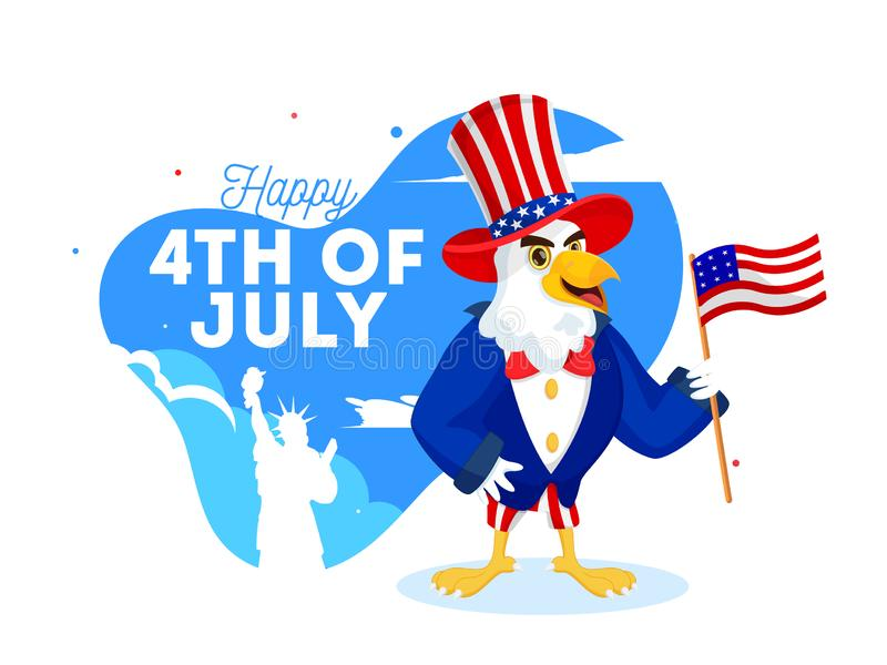 Cartoon character of eagle wearing uncle sam hat holding American Flag on the occasion of Happy 4th Of July. vector illustration