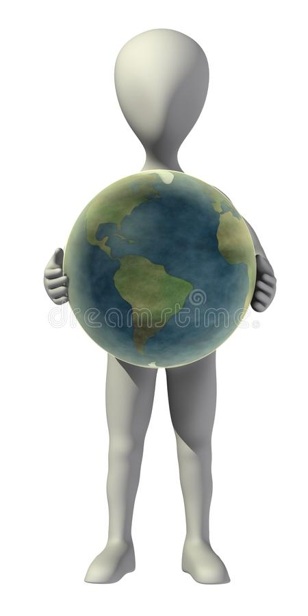 Download Cartoon Character With Earth In Hands Stock Illustration - Image: 24557876