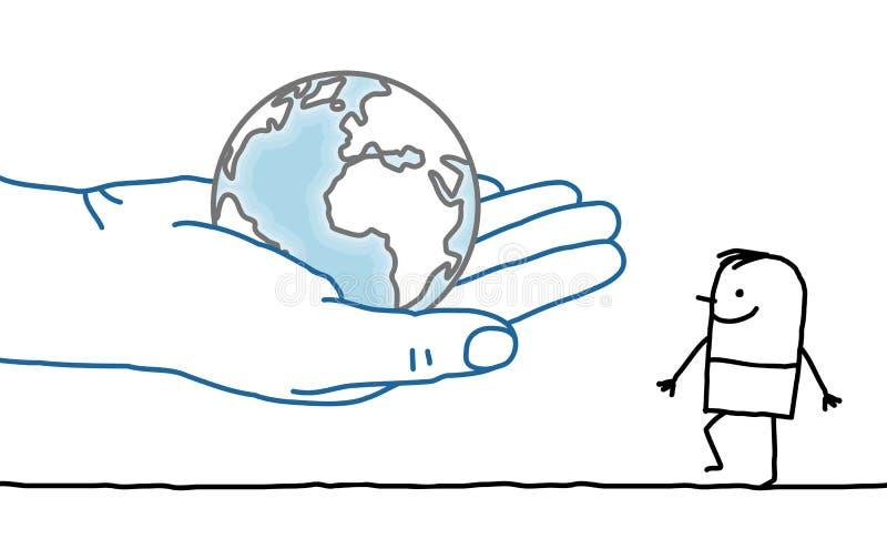 Cartoon character - Earth and man. Big hand and cartoon character - Earth and man stock illustration