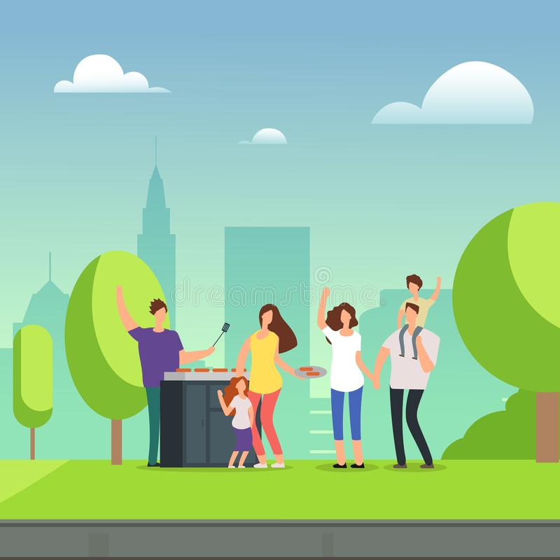 Cartoon character families resting on bbq picnic in park. Cartoon character families resting on bbq picnic in green park. Vector illustration stock illustration
