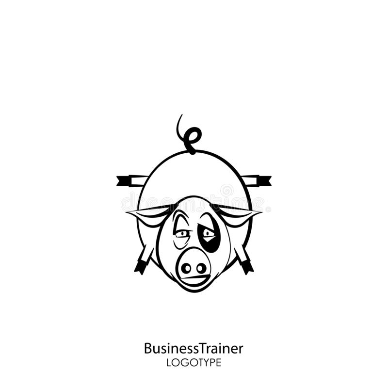Funny pig. Cartoon character farm animal. Funny cool pig posing standing on its front legs against a white background. Vector illustration. Fitness or business royalty free illustration
