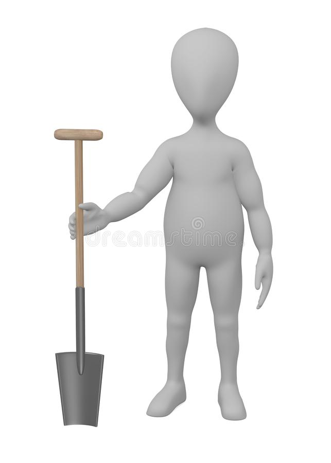 Download Cartoon Character With Farming Tool - Shovel Stock Illustration - Image: 24588952