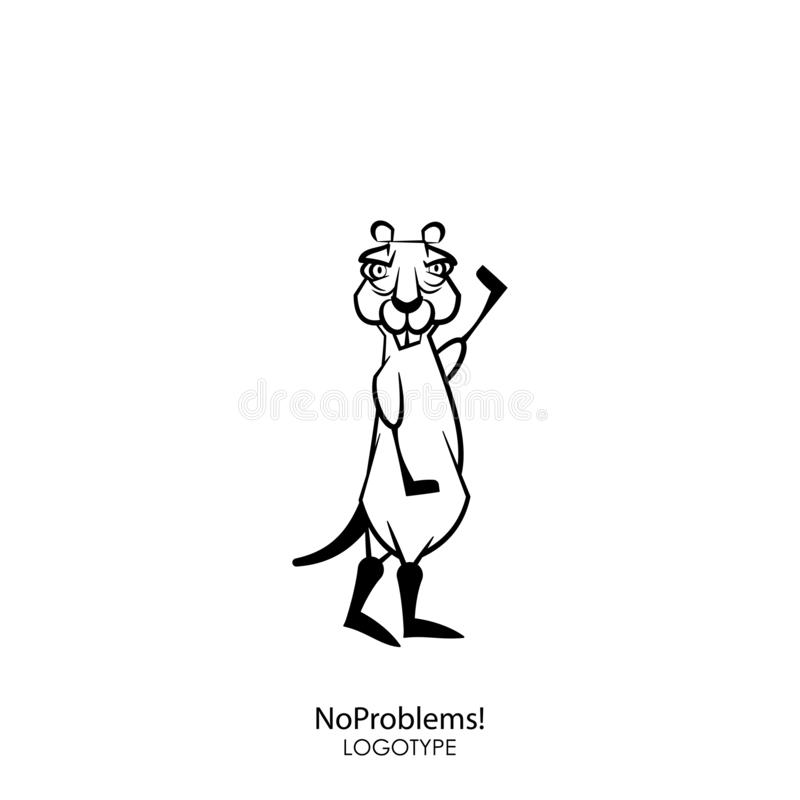 Funny wild suslik. Cartoon character of a forest animal. Funny cool serious gopher with a pair of protruding teeth standing and posing with a raised paw on a stock illustration