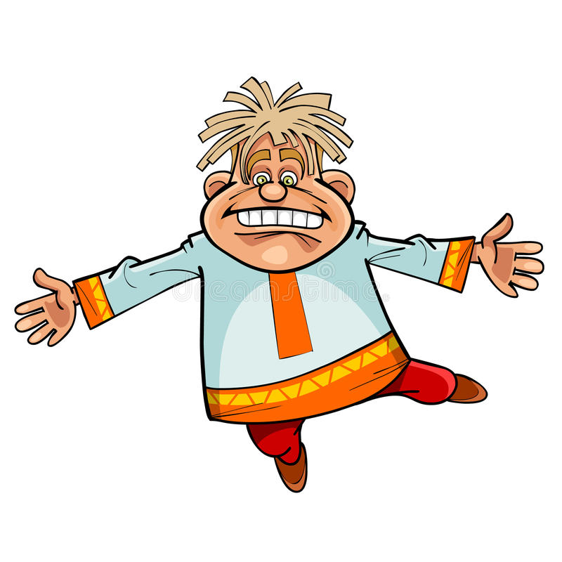 Cartoon character funny man in Russian national dress dancing stock illustration