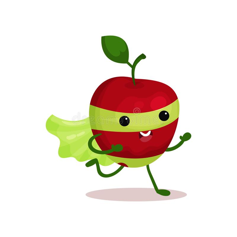 Cartoon character of funny superhero apple with cape and mask, running forward. Funny red apple superhero in green mask and cape, running forward to saving world royalty free illustration