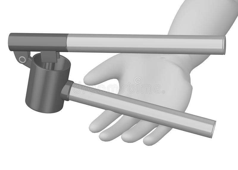 Download Cartoon Character With Garlic Press In Hand Royalty Free Stock Image - Image: 24851086