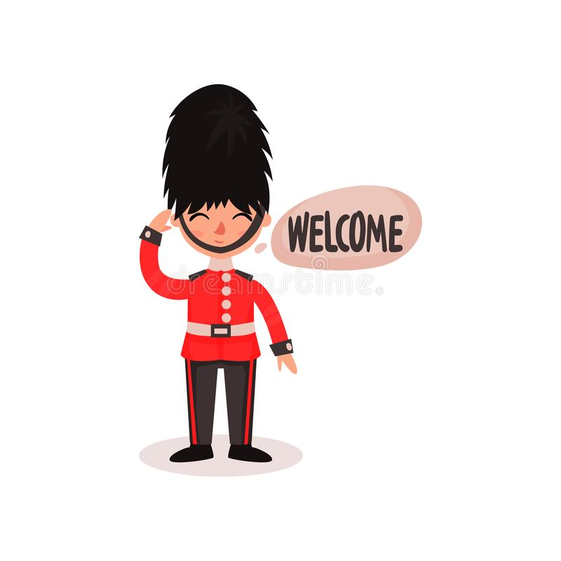 Cartoon character of guardsman in uniform and hat. National British guard. Friendly royal soldier saying Welcome . Flat stock illustration