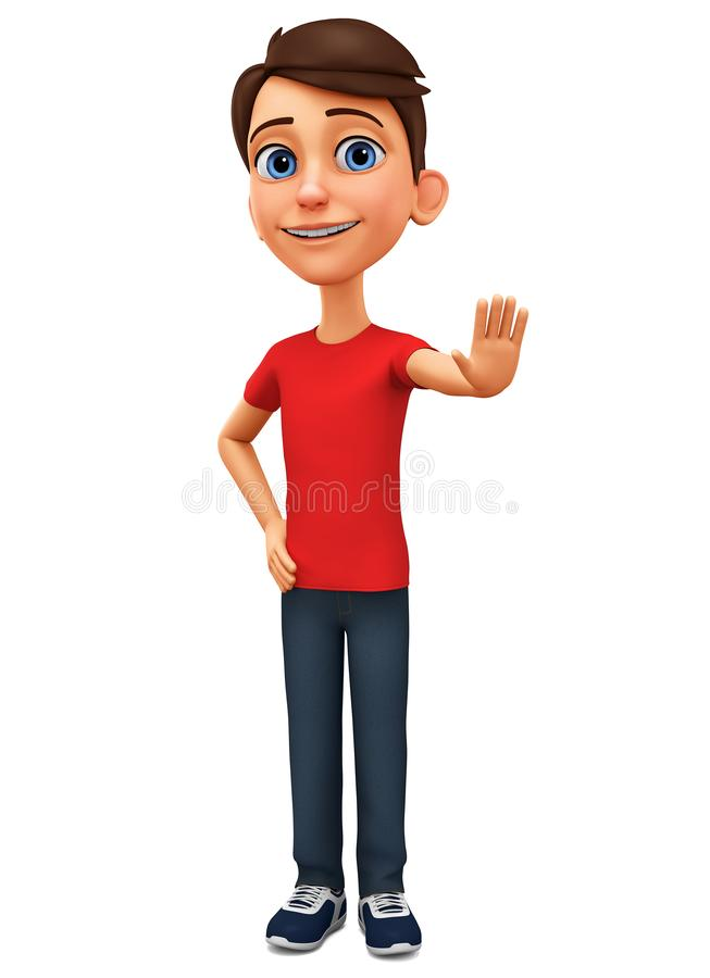 Cartoon character guy shows hand stop on a white background. 3d rendering. Illustration for advertising stock illustration