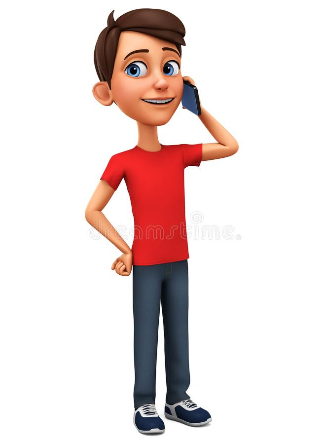 Cartoon character guy talking on the phone on a white background. 3d rendering. Illustration for advertising royalty free illustration