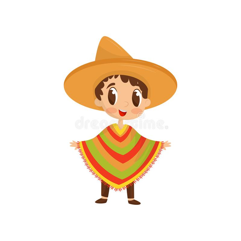 Cartoon character of little boy in colorful Mexican poncho and straw hat. Fancy clothes for carnival. Flat vector icon. Cartoon character of little boy wearing royalty free illustration