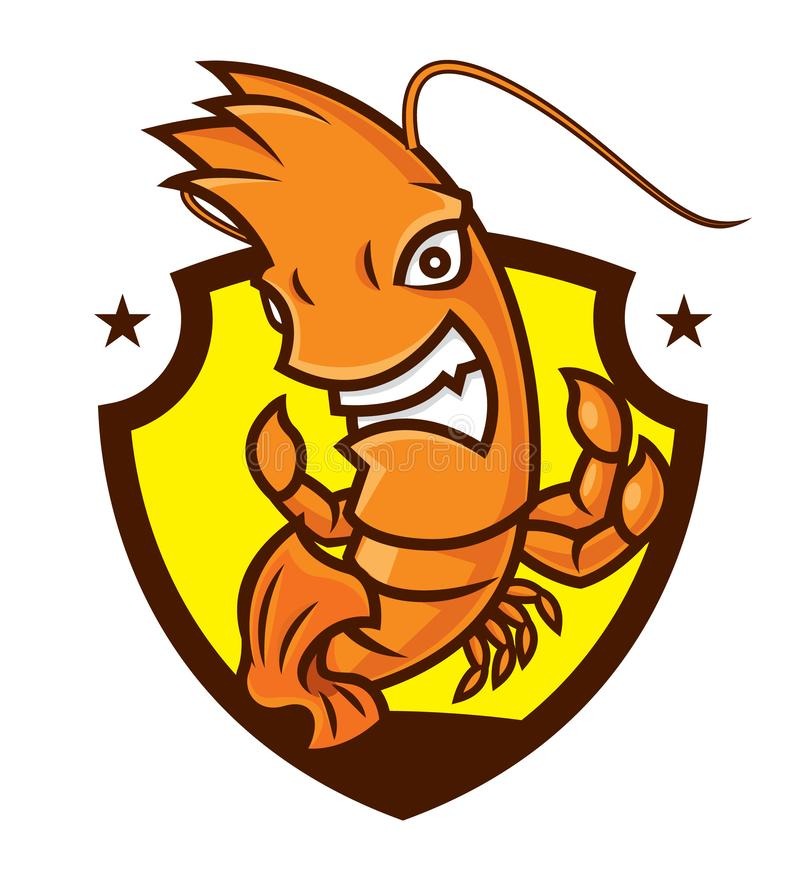 Cartoon character of mad prawn mascot for sport-vector royalty free illustration