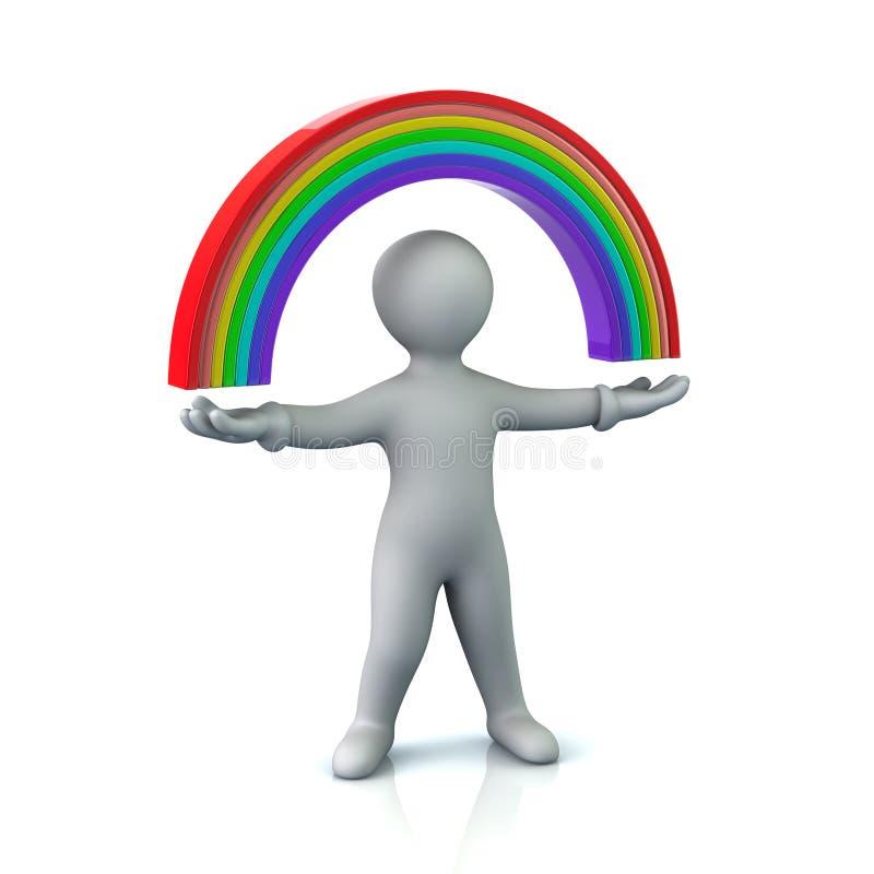 Cartoon character man and rainbow. 3d illustration of cartoon character man and rainbow vector illustration
