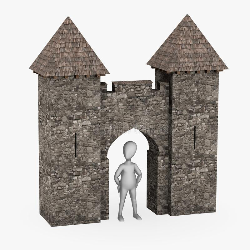 Download Cartoon Character With Medieval Building - Gate Stock Illustration - Image: 24352519