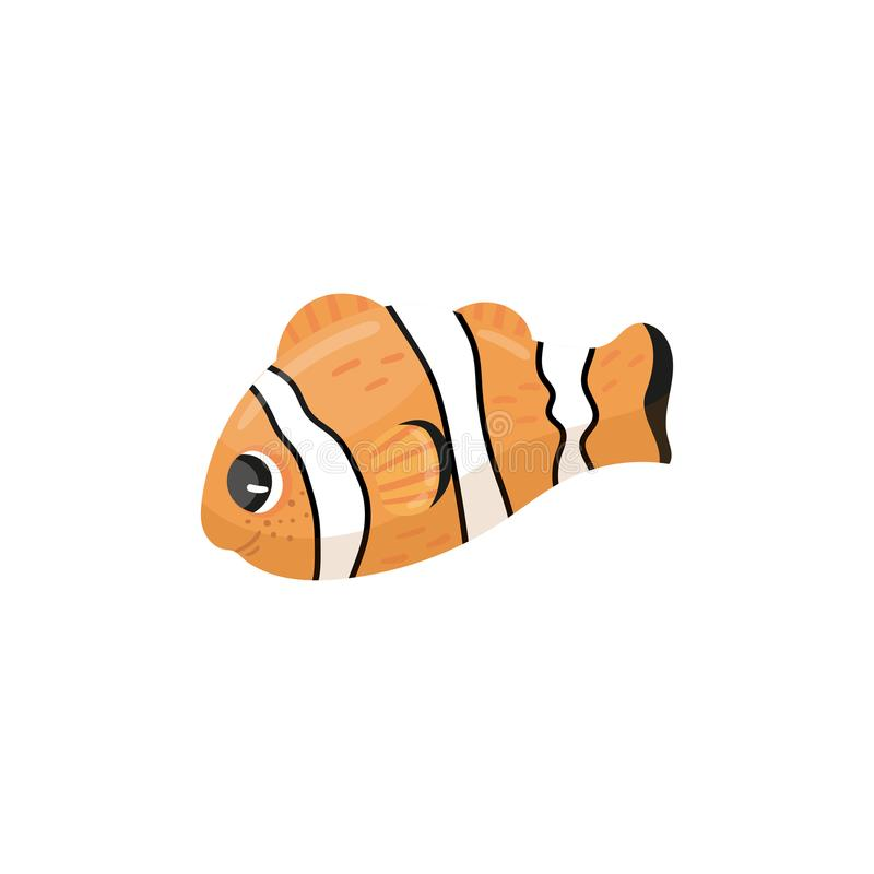 Free Cartoon Character Of Clownfish. Anemone Fish In Orange, Black And White Colors. Adorable Marine Creature. Sea Animal Stock Photos - 110527613