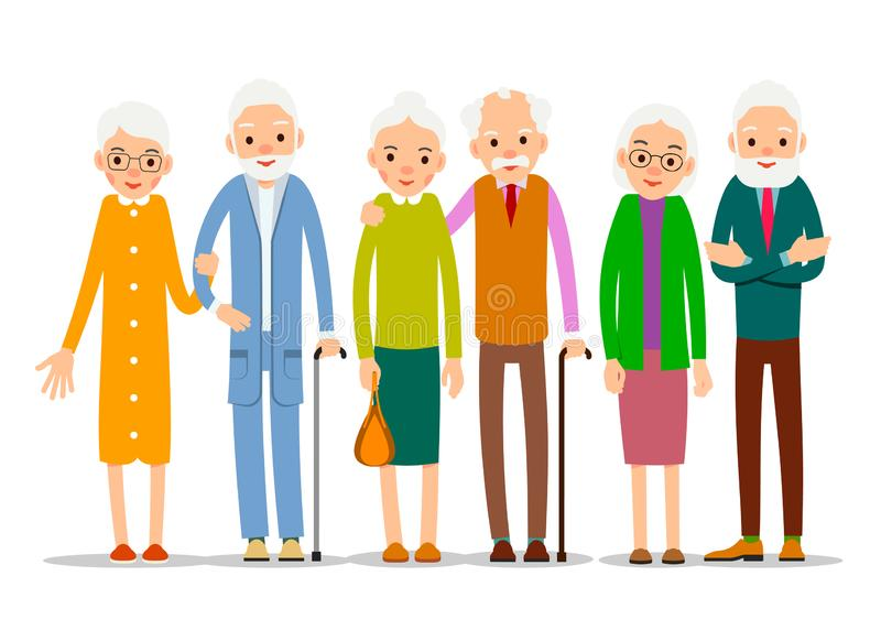 Cartoon character old group. Older people are standing together and smiling. Retired elderly senior age couple. Happy aged friends. Female male symbol. Flat royalty free illustration