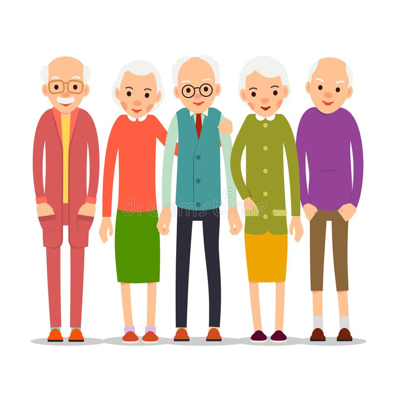 Cartoon character old group. Older people are standing together and smiling. Retired elderly senior age couple. Happy aged friends. Female male symbol. Flat stock illustration