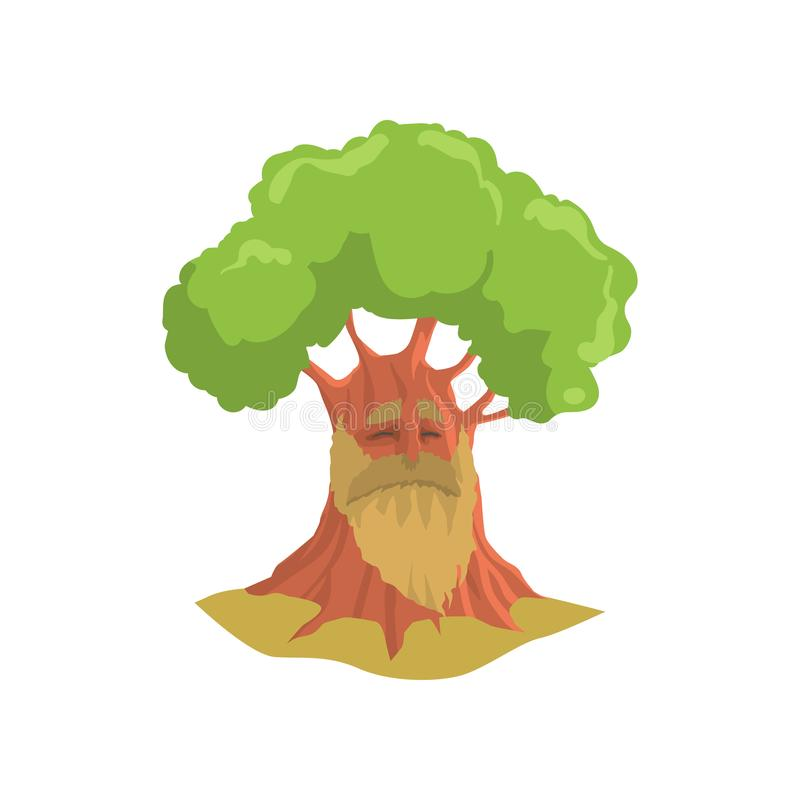 Cartoon old oak with long beard. Humanized forest tree with green foliage. Natural landscape element. Colorful flat royalty free illustration