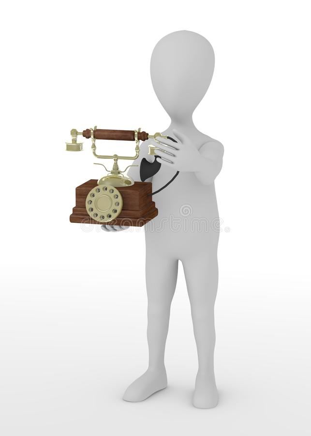 Download Cartoon Character With Old Telephone Stock Illustration - Image: 24589107