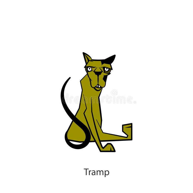 Funny cat color. Cartoon character of a pet. Funny cool cat sitting and posing. Vector illustration. Conceptual. Tramp vector illustration
