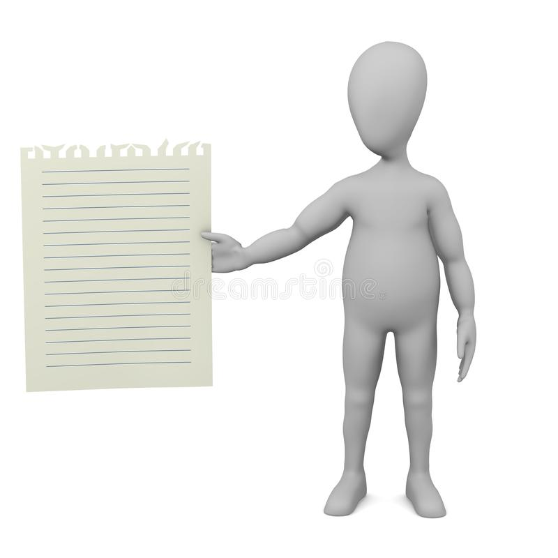 Download Cartoon Character With Piece Of Paper (with Blue L Stock Illustration - Image: 24589113