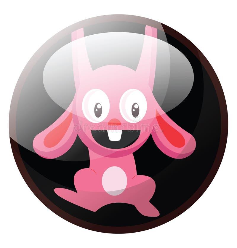 Cartoon character of a pink rabbit hanging vector illustration in black circle royalty free illustration