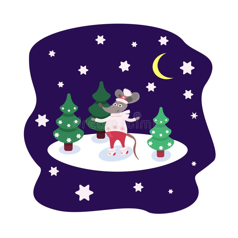 Cartoon character Rat in winter clothes stands on the snow among the Christmas trees. Card with a starry night and a. Forest. Cute mouse for printing on fabric royalty free illustration