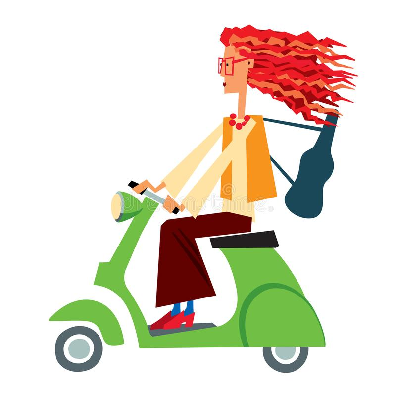 Cartoon character red-haired girl violinist rides on a small green scooter. Vector graphics. Isolate stock illustration