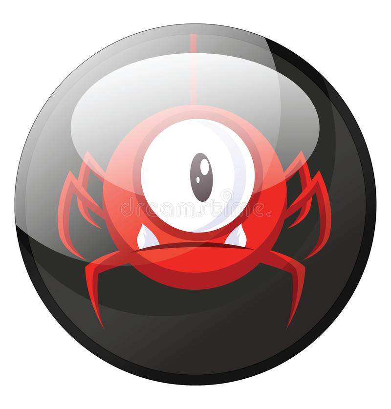 Cartoon character of a red spider looking monster with one eye vector illustration in black circle royalty free illustration