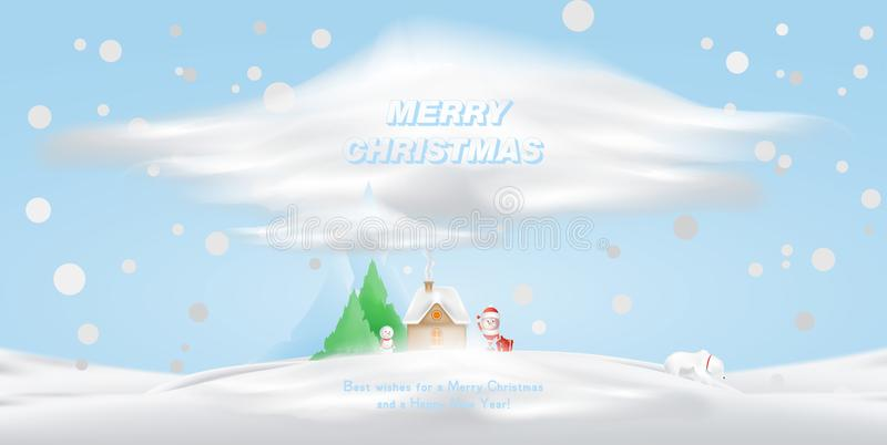 Cartoon character Santa Claus and house in the snow against a background of mountains and a Christmas tree. Vector for vector illustration