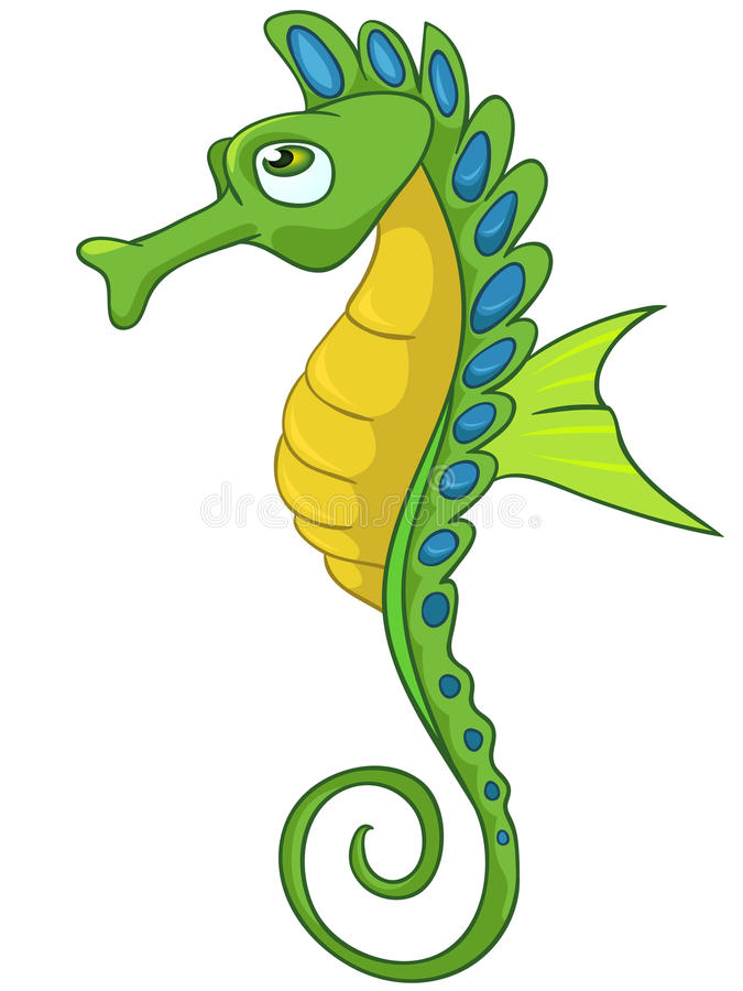 Cartoon Character Seahorse stock illustration