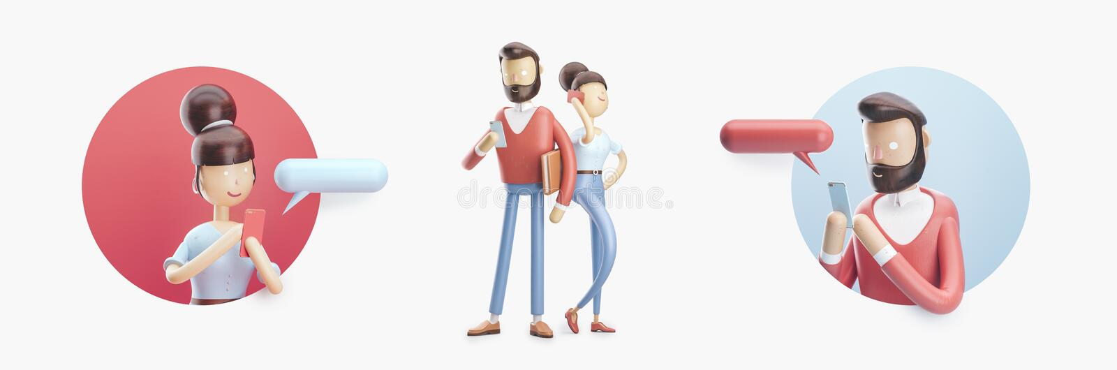 Cartoon character is sending a message from his phone. Set of 3d illustration stock illustration