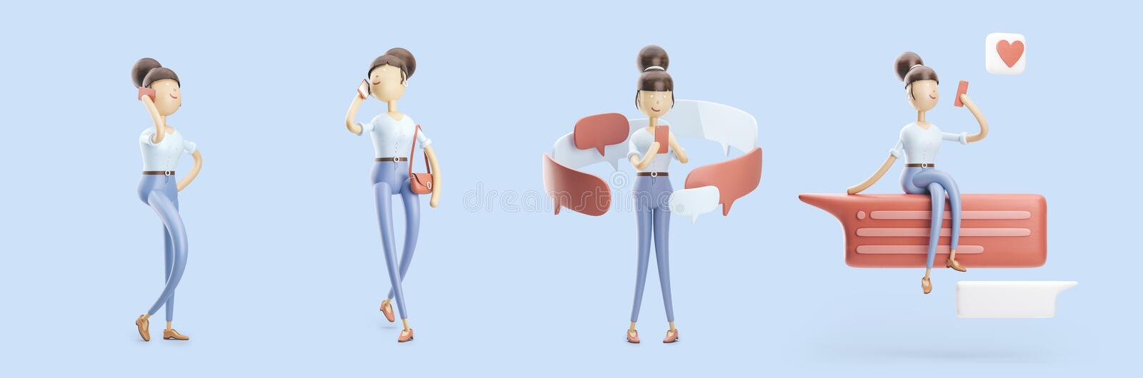 Cartoon character is sending a message and talking on the phone. set of 3d illustrations vector illustration