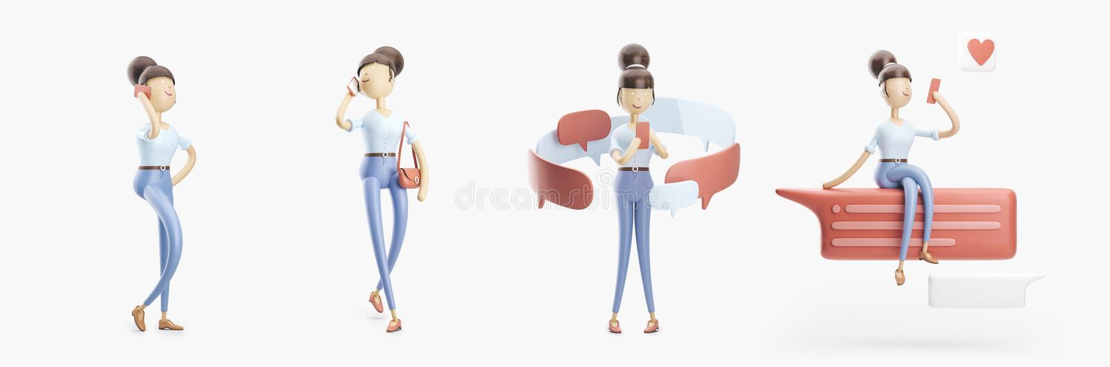 Cartoon character is sending a message and talking on the phone. set of 3d illustrations royalty free illustration