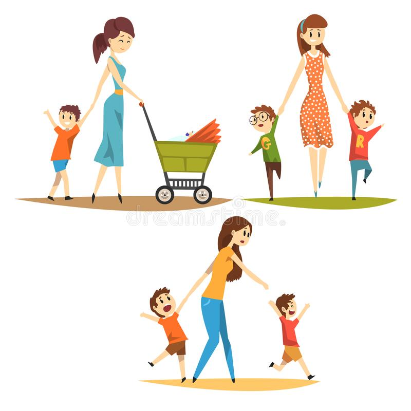 Cartoon character set of young mothers with kids. Pretty woman with newborn in baby carriage, preschool naughty boys stock illustration