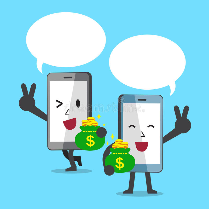 Cartoon character smartphones carrying money bags with speech bubbles vector illustration