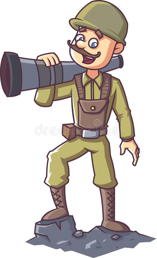 Indian Soldier Cartoon Illustration Stock Illustration