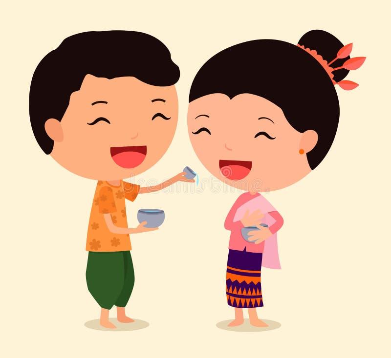 Cartoon Character Songkran 1 royalty free stock photos