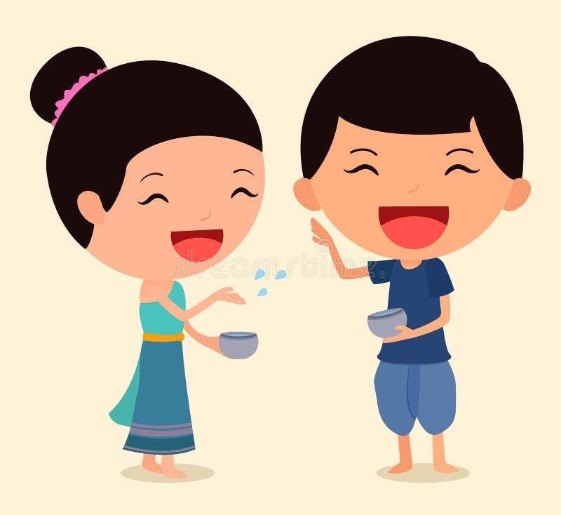 Cartoon Character Songkran 2 stock photos