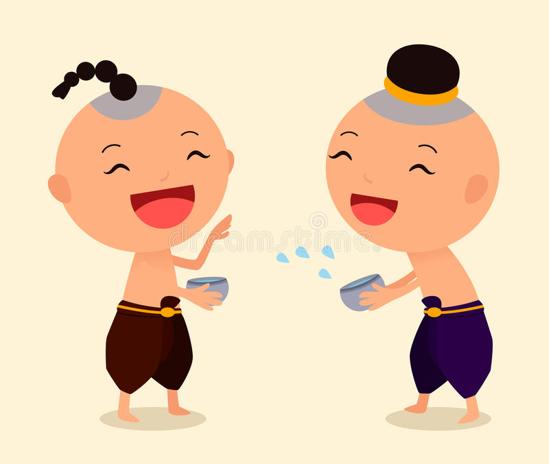 Cartoon Character Songkran 4 royalty free stock images