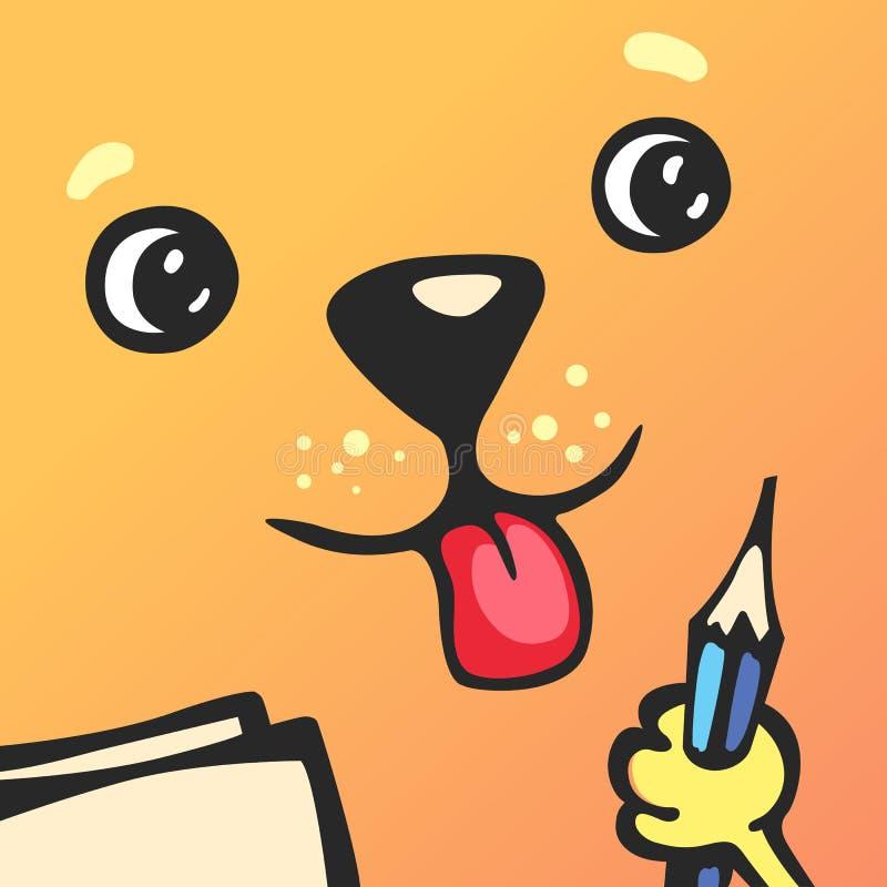 Cartoon character square dog vector illustration