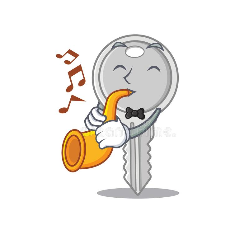 Cartoon character style of key performance with trumpet. Vector illustration royalty free illustration