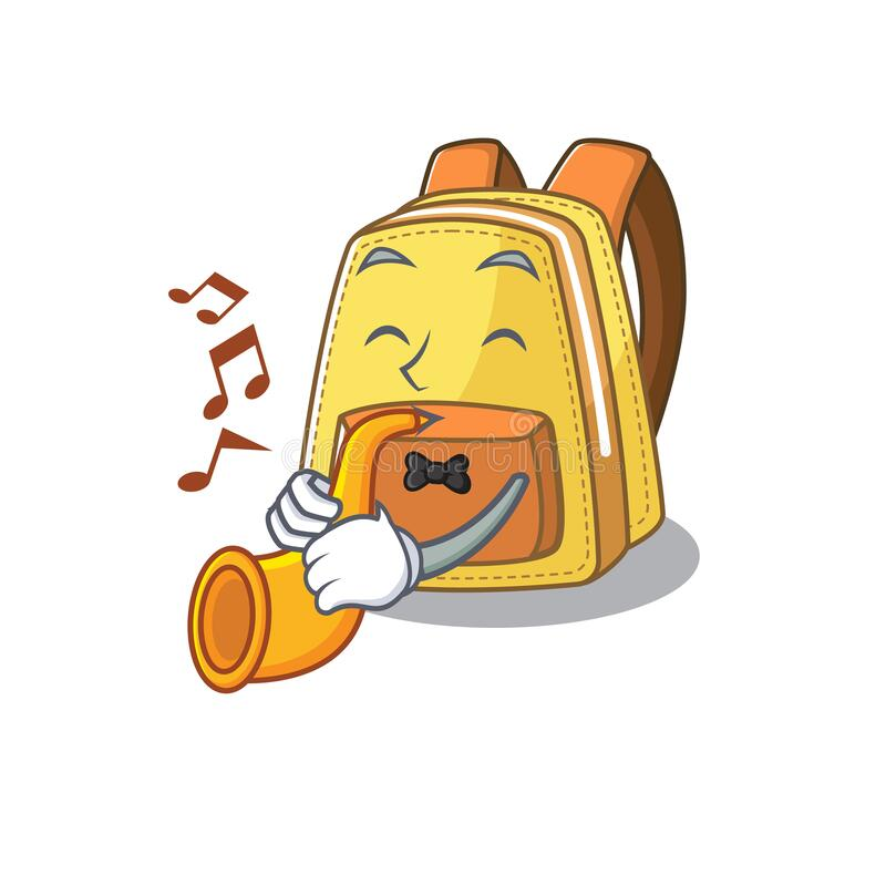 Cartoon character style of kids school backpack performance with trumpet. Vector illustration stock illustration