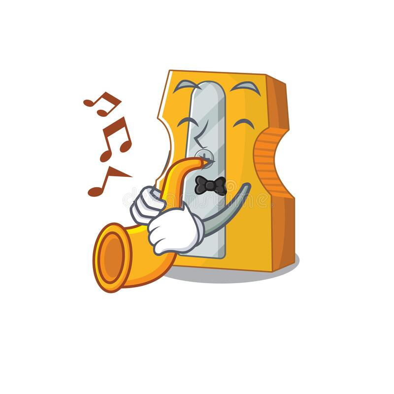 Cartoon character style of pencil sharpener performance with trumpet. Vector illustration royalty free illustration